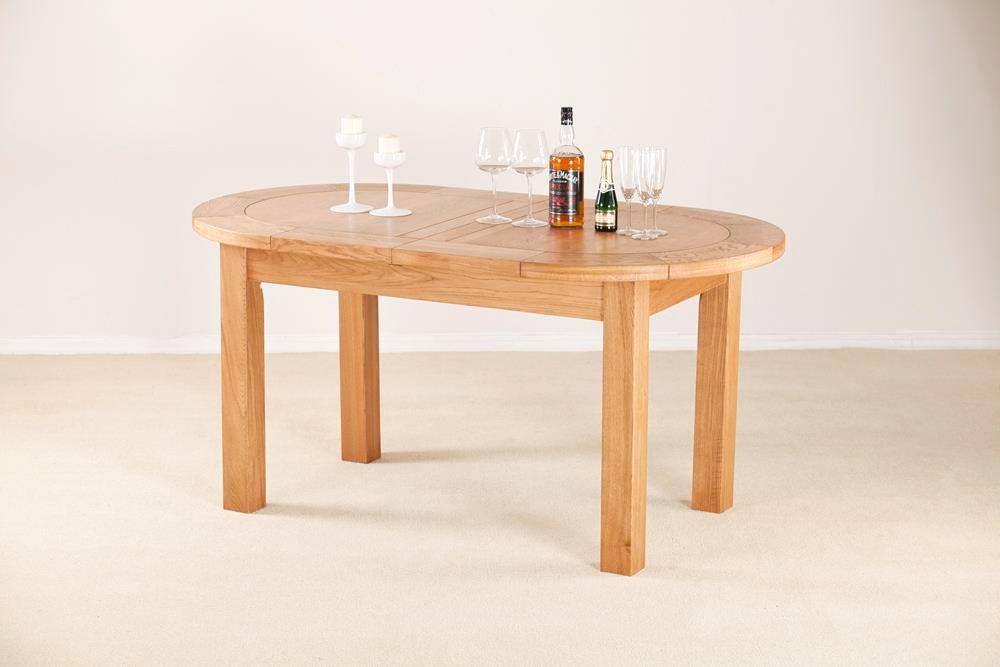 Nottingham Rustic 5 Ft Oak Oval Extending Dining Table Oak World
