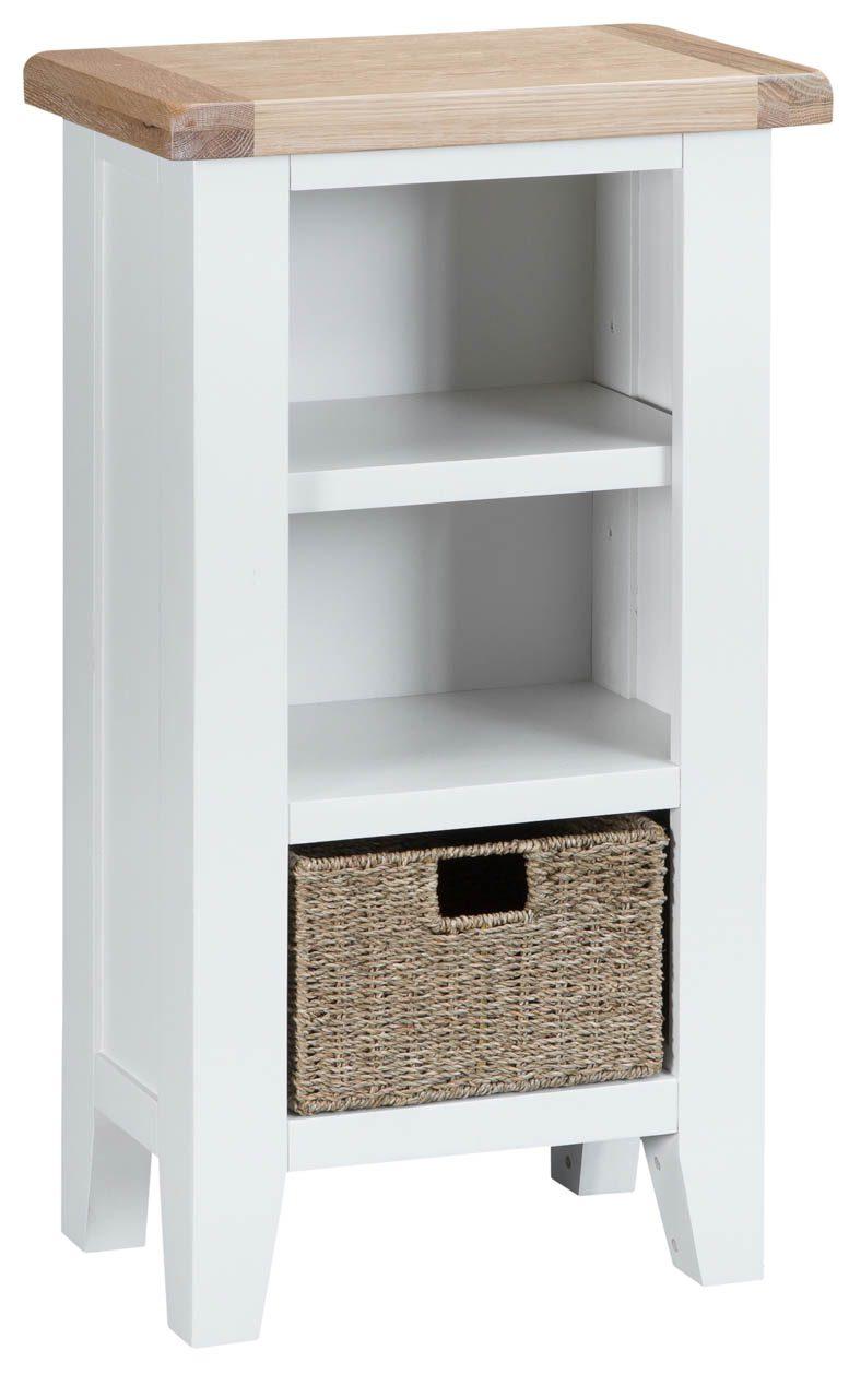 Woodbridge Small Narrow White Bookcase Fully Assembled