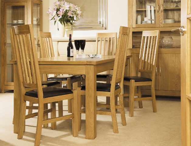 Montana american solid oak 5ft dining table set with 6 x for 5ft dining room table