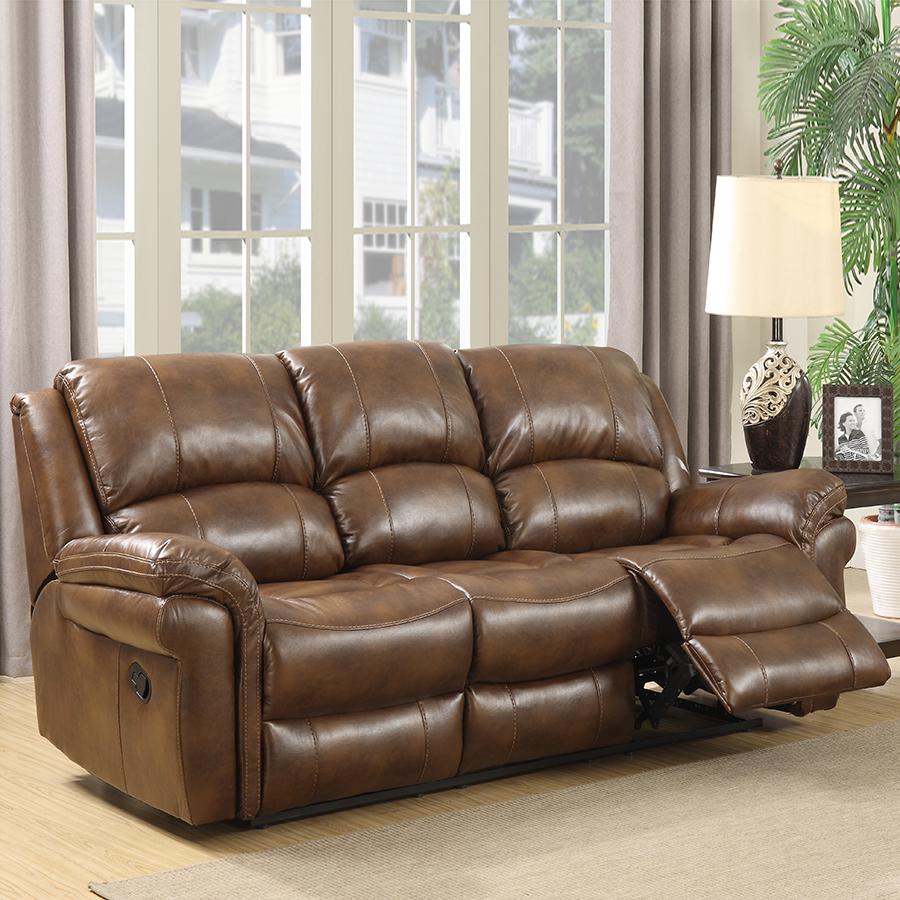 Farnham Tan Leather Sofa 3 Seat Electric Recliner