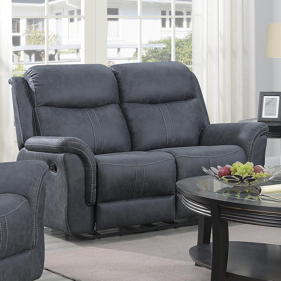 Portland Slate Grey Leather 2 Seat Reclining Sofa